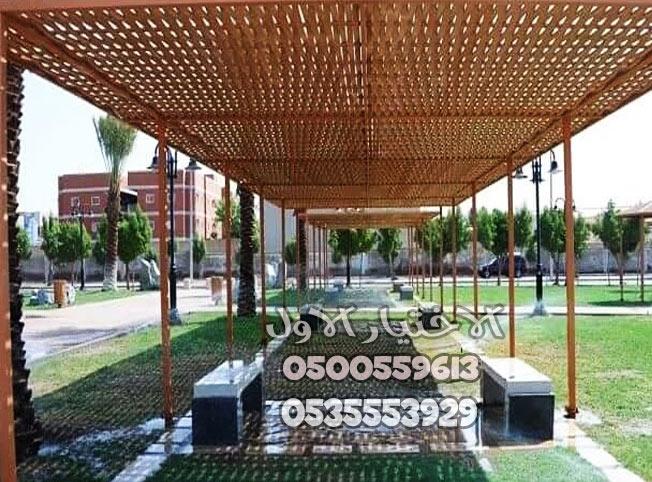 مظلات حدائق خشب مجدول بالرياض