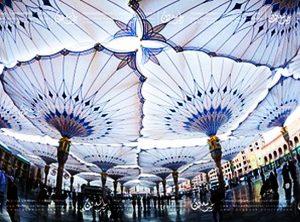 شكل مظلات المسجد النبوي من أسفل